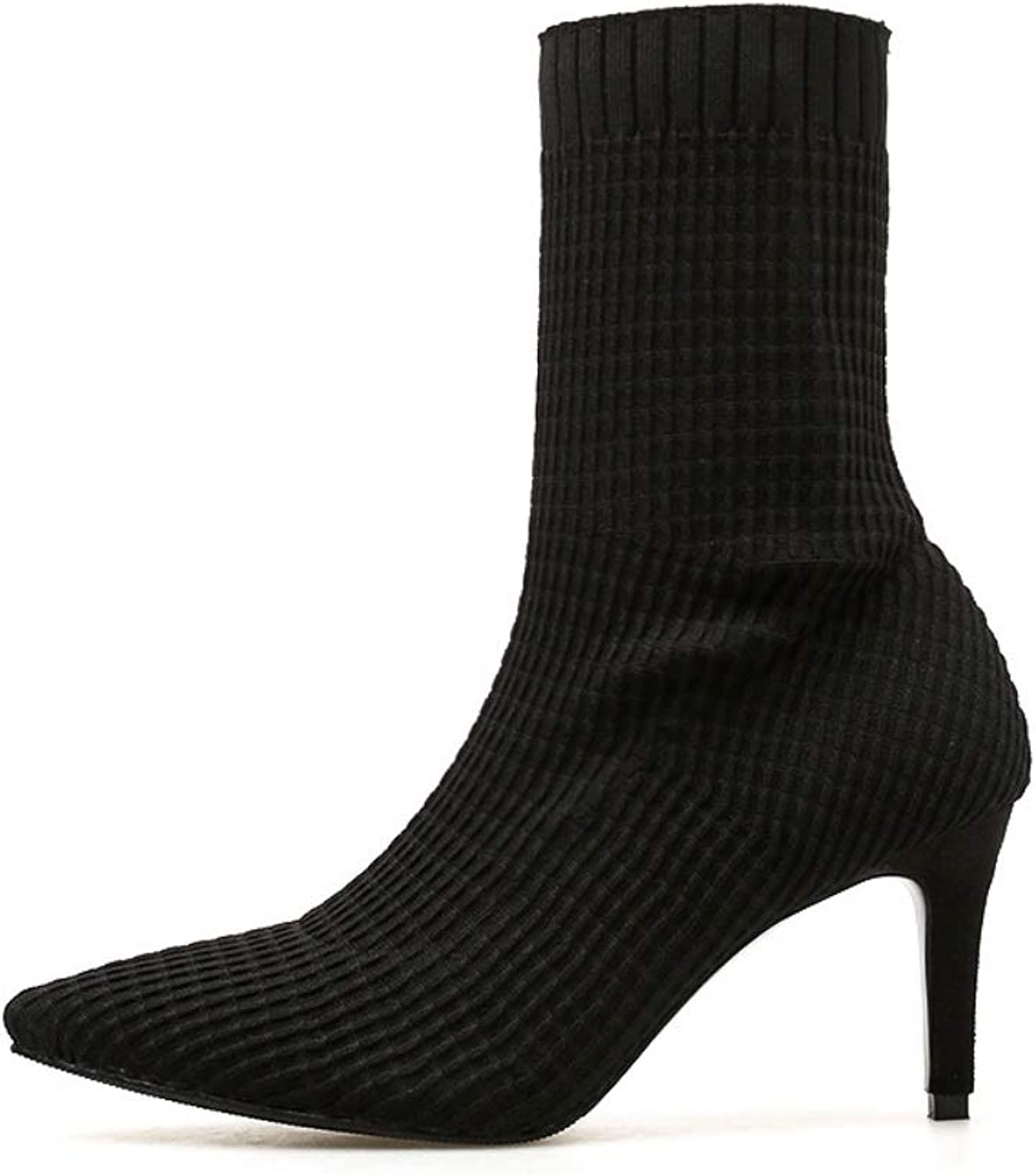 Ladies Women Knitted High Heel Ankle Boots Heel Boots with Stiletto Pointed Elastic Force Boots Ankle Comfortable shoes for Inside Outside
