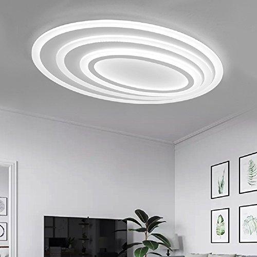 WENSENY LED Deckenleuchten 114W Acryl Deckenlampe Ultra-Thin Runde Deckenleuchte Creative Wohnzimmer Leuchten Edelstahl Esszimmer Restaurant Lampen 80 cm * 65 cm Weiß Lichtquelle