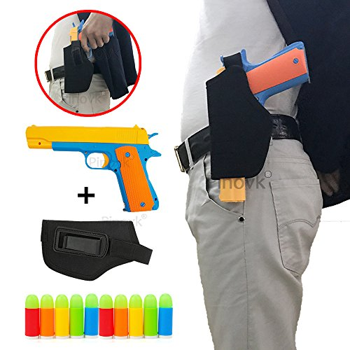 Pinovk Classic Foam Play Kid Toy Gun Colt 1911 Toy Gun with Tactical Holster and Colorful Soft Bullets,Real Dimensions,Fun Outdoor Game,Yellow