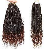 Box Braids Crochet Braids Curly Ends Goddess Box Braids Crochet Hair Synthetic Crochet Hair Extensions (14, 1B/30#)…