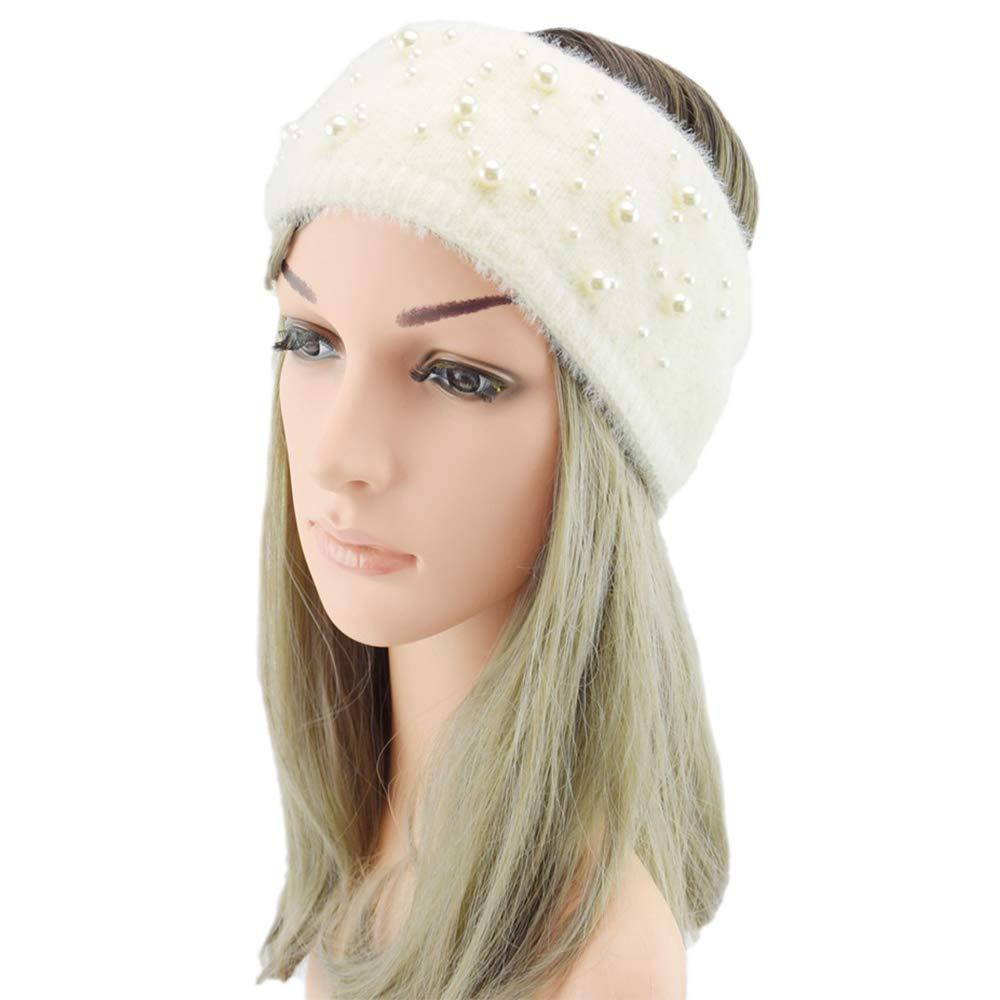Kitcheblest Headbands for Woman, Wide Pearl Hair Accessories Winter Ear Warmer Stretch Turban Headwear(white)