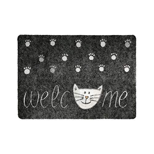 Deco-mat- Alfombrilla para el baño, uso exterior o interior; antideslizante y lavable, diseño con gatos, Welcome Grau, 50 x 70 cm