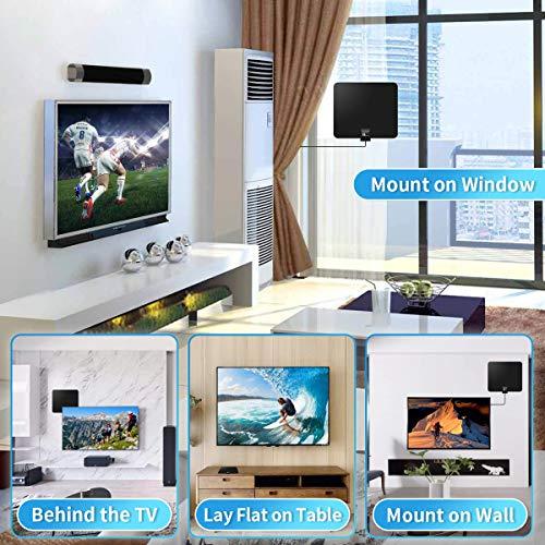 1byone Antenne TNT Intérieure avec Amplificateur, Full HDTV Aérienne avec d'Excellente Performance pour Réception DVB-T T2 TNT Numérique et Analogique TV Signaux, VHF/UHF/FM