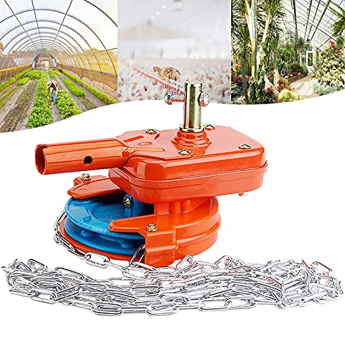 FZYE Equipo de ventilación Enrollable Manual de Invernadero, Dispositivo enrollador de Cadena de película Lateral Superior para Planta de cría agrícola,