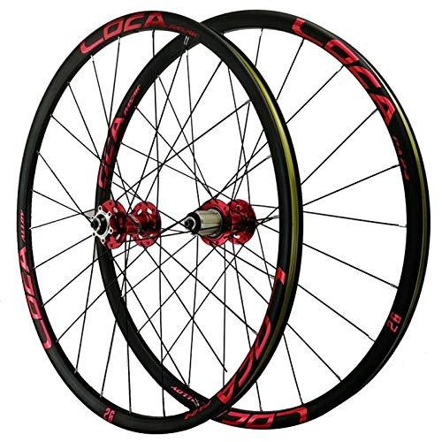 Rueda para Bicicletas De 26/27,5'',Ciclismo Wheels 24 Hoyos Pared Doble Freno De Disco Ciclismo De Montaña 7-12 Velocidades Deportes (Color : Red hub, Size : 27.5in)