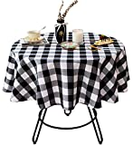 Wracra Cotton Linen Checkered Round Tablecloth Rustic Buffalo Plaid Table Cover for Kitchen Dinning Room Party Home Picnic ( Black and White, 47 inch)
