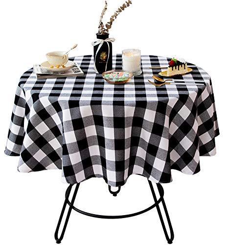 Wracra - Mantel redondo de algodón y lino a cuadros, diseño rústico de búfalo, para cocina, comedor, fiesta, picnic, color blanco y negro