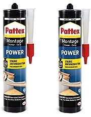 Pattex Powermontagelijm, bouwlijm met sterke hechting, krachtlijm voor absorberende materialen, lijm voor binnen en buiten