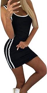 shitou Womens Printing Off Shoulder Sleeveless Party Bodycon Slim Mini Dress