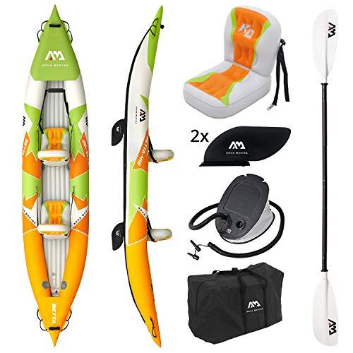 AM AQUA MARINA Set de Kayac Inflable por 2 BETTA-412 2020 13'6'' 2 Personas Canoa para Dos Bote con remos, Bomba, Bolsa 412 x 80 cm Naranja/Verde