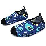 L-RUN Kids Water Shoes Barefoot Aqua Sock for Walking Slip-on Shark Jellyfish 3-4=EU 18-19