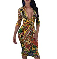 ECHOINE Women Sexy Leopard Deep V Neck Long Sleeve Zip Bodycon Midi Dress Club Outfits with Belt