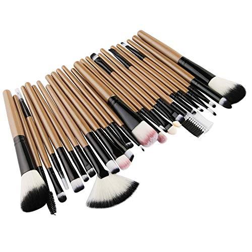 Fanxp® 25 pièces ensembles de pinceaux de maquillage multifonctions kits de pinceaux cosmétiques professionnels à long manche-brun