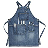 Jeanerlor - Denim Apron With Pockets for Women (Denim Blue) - Washing Style | Perfect Gift, Adjustable S to L