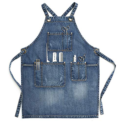 Jeanerlor - Denim Work Apron With Pockets for...
