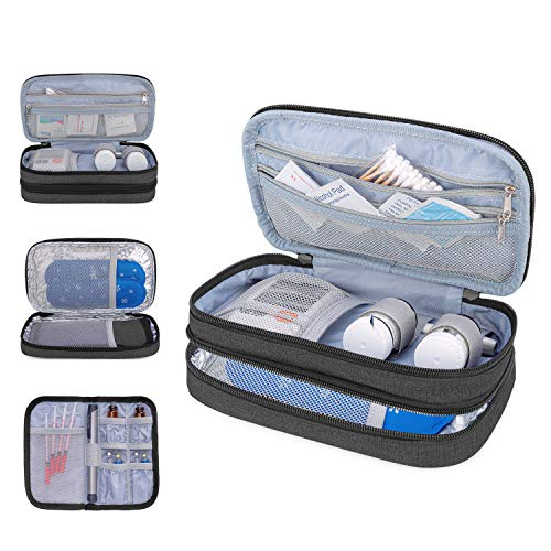 Luxja Insulin Travel Case, Double Layer Insulin Bag for Insulin Pens, Glucose Meter and Other Diabetic Supplies (Bag Only), Black