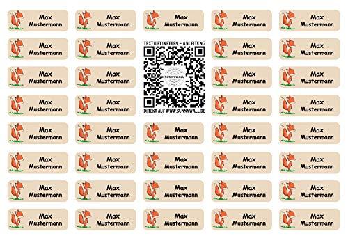 Sunnywall® für Kleidung Namensaufkleber Aufbügel-Etiketten Aufbügel-Aufkleber Aufbügel-Sticker 3,8x1,4cm | 37 Stück für Kinder Schule und Kindergarten (Fuchs 43)