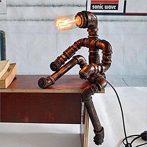 DZW Tischlampe, Retro-Lampe, Nachttischlampe Eisenlampe Amerikanisches Land Kreative Beleuchtung Schlafzimmer, Studie Lichtleitung 23 * 18 * 45cm(Enthält keine Glühbirnen)