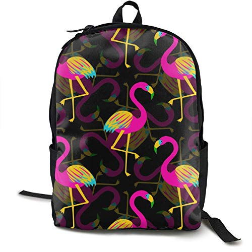 zhengchunleiX Sports Book Bags,Casual Rucksack,Travel Daypacks,Flamingo in Black Unique Backpack Durable Oxford Outdoor College Students Busines Laptop Computer Shoulder Bags