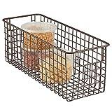 mDesign Cajas de almacenaje multiuso - Caja organizadora multipropósito con asas para transporte - Cesta almacenaje multiuso - Para cocina, baño, oficina o garaje - Material: acero - Color: bronce
