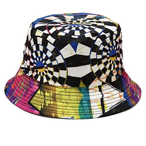 follwer0 Sombrero de cubo de impresión unisex reversible sombrero de playa sombrero de sol de ala ancha pescador Cap hojas florales Graffiti impresión 3D cubo sombrero