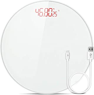 YQSHYP Weight Scale, Slim Design Round Digital Body Weight Bathroom Scale , Easy Read Display,Explosion-proof Tempered Glass, Step-On Technology Electronic Precision,White