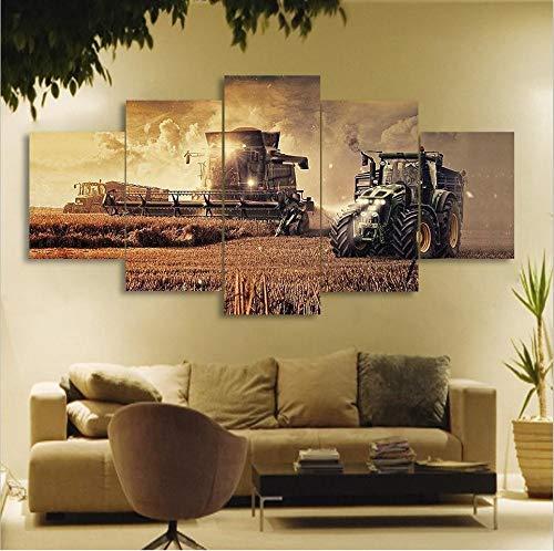 Taxpy Wandbild Wohnzimmer 5 stücke wandkunst Traktor ölgemälde leinwand gemälde kein Rahmen, 30x40cmx2 30x80cmx1 30x60cmx2