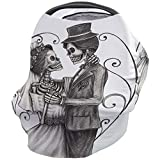 Car Seat Canopy Nursy Cover Tattoo, Multi Use Breastfeeding Scarf for Infant Carseat Canopy Stroller Shopping Cart Highchair Skull Wedding Day of Dead Couple Bride and Groom Endless Love Artwork