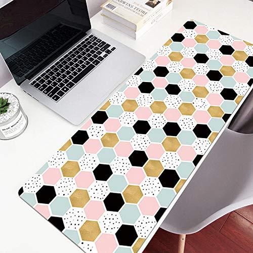 Tapis de Souris Fille Ins Vent Simple Texture Géométrique Nordique Grand Tapis de Table Clavier Ins Hexagonal coloré 12X32X0.12in