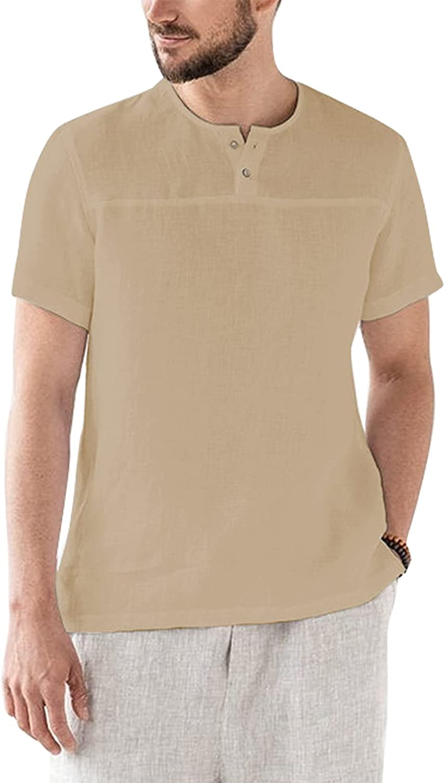 SAMACHICA Mens Linen Shirt Casual Short Sleeve Vacation Button Down Hippie Beach Yoga Wedding Henley Hawaiian Shirts
