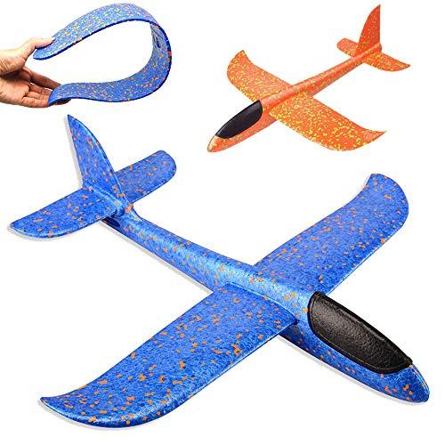 2 piezas Avión de espuma de poliestireno,juguete de avión para niños Planeador de tiro al aire libre Planeador manual Modelo de juego de espuma voladora Regalo de juego para Niño Niña Cumpleaños