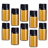 TOPBATHY 30 Piezas 3 Ml Botella De Vidrio Botella De Muestra De Color Ámbar Contenedor Dispensador para Crema De Polvo Aceite Esencial