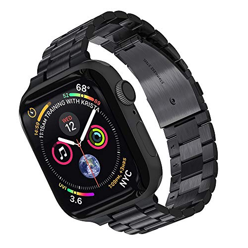Compatible with Apple Watch Band 38mm 40mm 42mm 44mm, Adjustable Stainless Steel Metal Wristband for iWatch Series 6/5/4/3/2/1 (Black, 42mm 44mm)
