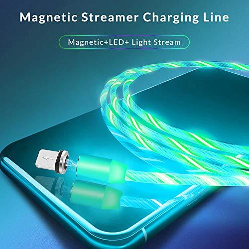 Kyerivs Magnetisches Ladekabel mit Sichtbar fließendem LED Licht Micro USB Ladekabel Typ C Schnelle Aufladung 3 in 1 Kabel kompatibel für Smartphone,Samsung Galaxy Huawei und Mehr No Sync Data