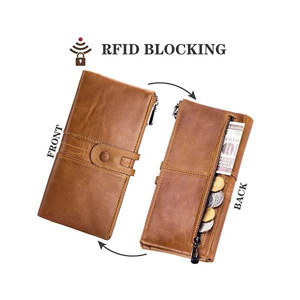 ROULENS Wallet for Women Genuine Leather Card Holder Phone Checkbook Organizer Zipper Coin Purse 4