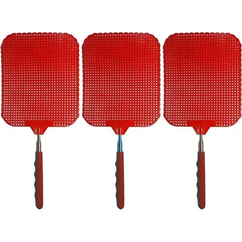 marion10020 Fliegenklatsche Fliegen-Klatsche Klatsche XXL, ausziehbar von 34 cm bis 76 cm, Schlagfläche 19 x 16 cm, rot, 3er-Set
