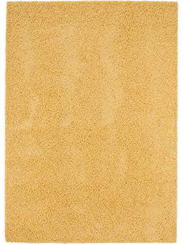 benuta Swirls Shaggy - Alfombra de Pelo Largo (Fibra sintética, sin sustancias nocivas), Fibra sintética, Amarillo, 120 x 170 cm