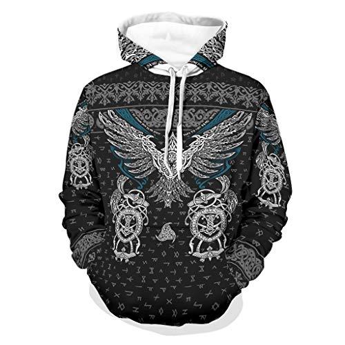 Twelve constellations Sudadera con capucha para hombre, diseño de águila vikinga, cómoda y divertida, color blanco