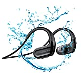 Runattitude Sports Swimming Bluetooth Headphones,IPX8 Wireless 8G Mp3 W/Mic HD Stereo Earbuds for Gym Running Workout, 8 Hrs Playback Noise Cancelling Headsets(Black)