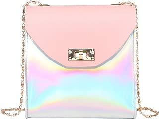 Bookear Handbags Women Fashion Hologram Laser Bag Zipper Waterproof Crossbody Shoulder Bag (Pink)