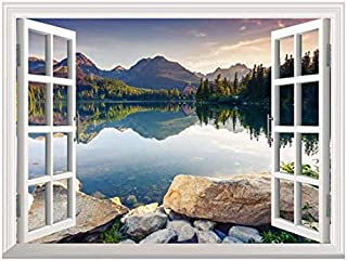"wall26 Removable Wall Sticker/Wall Mural - Peaceful Lake in Autumn | Creative Window View Wall Decor - 24""x32"""