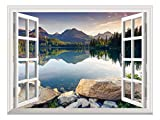 wall26 Removable Wall Sticker/Wall Mural - Wild Flowers in Spring (36'x48', Peaceful Lake)