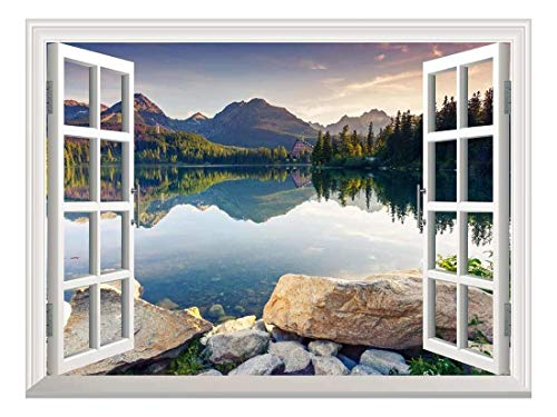 wall26 Removable Wall Sticker/Wall Mural - Peaceful Lake in Autumn | Creative Window View Wall Decor...
