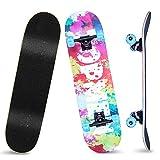 MAIGG Completo Skateboard Professionale, 31'' x 8'' Skateboard Double Kick Deck Concavo, con Cuscinetti a Sfera ABEC 11 e 8 Strati in Legno d'Acero Cinesi, per Principianti Bambini e Ragazzi e Adulti