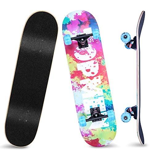 Skateboard 31x8 Zoll Komplette Cruiser Skateboard für Kinder Jugendliche Erwachsene, 8 Lagiger Chinesischer Ahorn Double Kick Deck Concave mit All-in-one Skate T-Tool für Anfänger, Belastung 150 kg