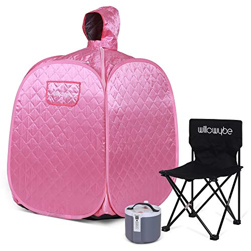 WILLOWYBE Portable Personal Steam Sauna Home Spa, an Indoor Steam Sauna for Relaxation, Detox and Therapeutic, Pink Lady