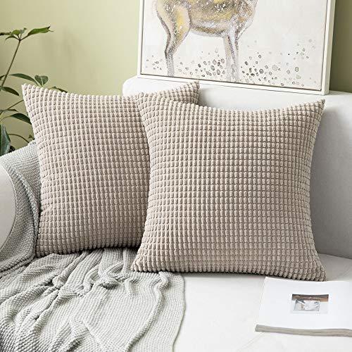 """MIULEE 2er Set Cord Weiches Massiv Dekorativen Quadratisch Überwurf Kissenbezüge Kissen für Sofa Schlafzimmer 18""""x18"""", 45 x 45 cm Sandfarbe"""