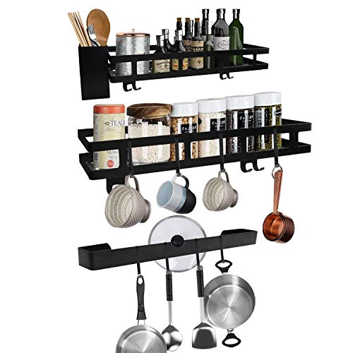 GUIFIER Kitchen Wall Pot Rack  2Tier Mounted Hanging Rack amp 1 MultiPurpose Hanging Rod for Kitchen Storage and Organization Matte Black Wall Shelf for Pots and Pans with Hooks