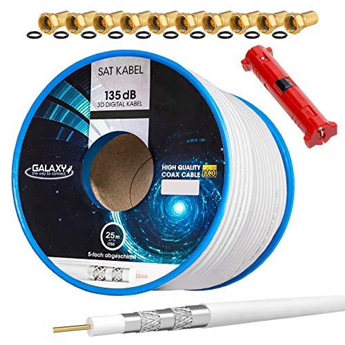HB-DIGITAL Galaxy - Cable coaxial para antena satélite (135 dB, apantallado en 5 capas, incluye pelacables y conectores F dorados, para DVB-S, S2, S2X, DVB-C y DVB-T, T2 BK, UHD 4K, Full HD 3D) 25 m