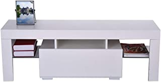 Sanmomo Imported TV Stand, Modern Minimalist TV Cabinet Living Room with High-Gloss LED Lights